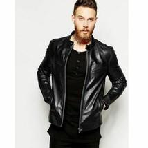 New Mens Black Leather Jacket Slim Fit Leather Jacket Casual Coat - $59.39+