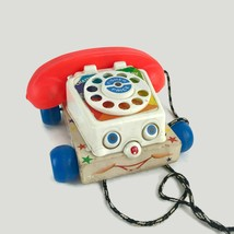Vintage 1970s Fisher Price Chatter Rotary Telephone Wooden Base Rings 747 - $13.96