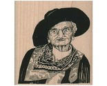 Mounted Rubber Stamp, Cowgirl Grannie, Cowgirl, Western, Old West, Cowboy, Hat