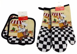 Panini Chef Set 4 Oven Mitt Gloves Pot Holders ... - $15.99