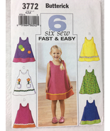 Butterick 3772 Toddlers Childrens Dress Sewing Pattern Size 4,5,6 - $10.00