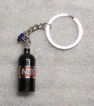 Nos Nitrous Oxide Systems Black Bottle Key Chain Ring Keychain New - $12.99