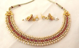Fashion Jewelry Set Indian Bollywood Gold Plated Pearl Fuchsia Bridal Necklace - $10.39