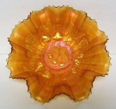 "Northwood ""Three Fruits"" 9 inch Ruffled, Stippled Bowl – Marigold Carnival - $60.00"