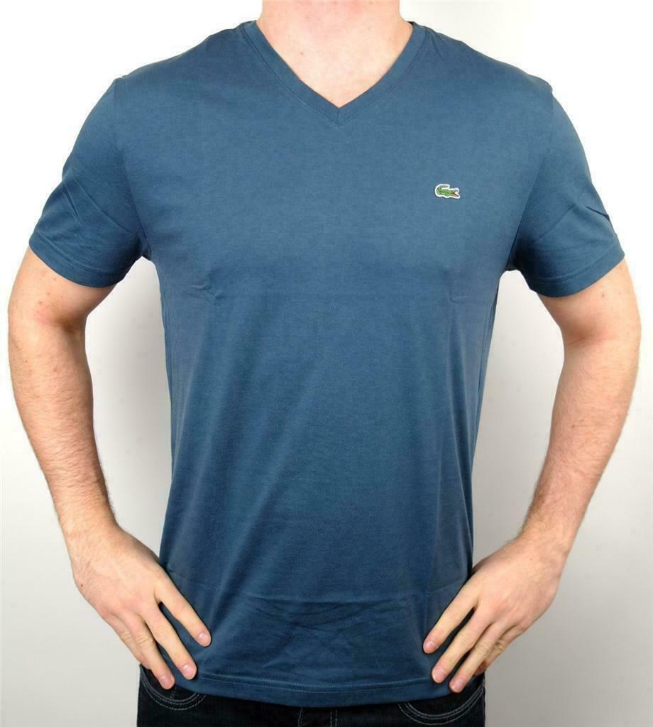 Lacoste Men's Premium Athletic Pima Cotton V-Neck Shirt T-Shirt Typhoon Sz M