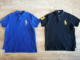 Pair of RALPH LAUREN Men's Cotton BIG PONY Logo Rider #3 s/s POLO Shirt 2XL - $18.09+