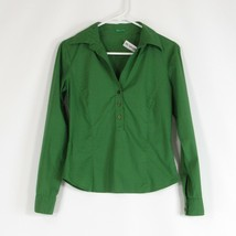 Green cotton blend MADE IN HONG KONG OF BENETTON stretch blouse S - $24.99