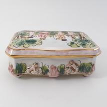 Vintage CAPODIMONTE Cherub Porcelain Trinket Dresser Box image 6