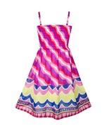 Girls Dress Violet Tank Smocked Stripe Wave Summer Beach Sundress 2018 S... - $23.89