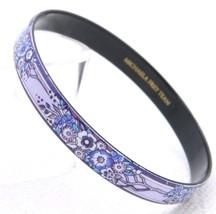 Vintage Michaela Frey Team Purple Floral Enamel Bangle Bracelet - $49.50