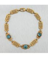 Ladies Antique Victorian Estate 10K Yellow Gold Aquamarine Filigree Brac... - $599.95