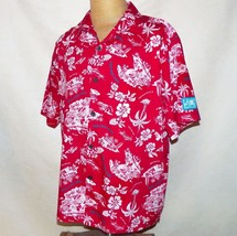 Walt Disney World Trader Micks Surf Gear Mickey Red Hawaiian Aloha Camp Shirt L - $59.99