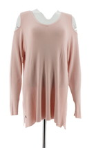 Belle Kim Gravel Cold Shoulder Sweater Tunic Shell Pink 3X NEW A296567 - $31.66