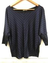 CHA CHA VENTE Knit Top Blue Black Chevron Striped 3/4 Sleeve Blouse S Small - $14.95