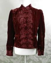 Vintage Spiegel Velvet Jacket Size 6 Burgundy Red Embroidered Frog Closure - $29.69