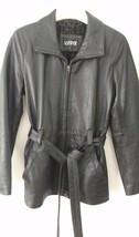 Kasper Leather Jacket Coat Womans Small Belt Black VERY Soft Fleece lining - $38.69
