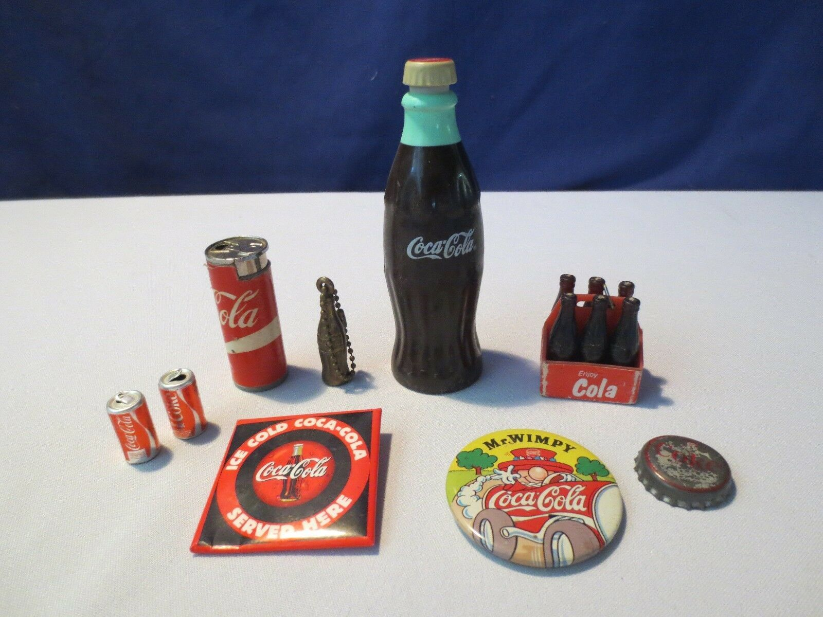 Primary image for Lot 9 Old Coca Cola Unusual  Coke KEY CHAIN PINS Bottles Miniatures COLLECTION