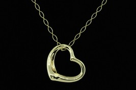 "TIFFANY & CO. 18K Yellow Gold Large Open Heart Pendant w/ 20"" Oval Link ... - $1,085.00"