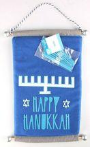 Happy Hanukkah Hanukiah Felt Banner Sign w Menorah & Stick on Candles Blue NEW image 3