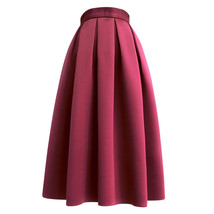 Wine Red Midi Party Skirt A-line Polyester Pleated Midi Skirt Holiday Outfit  image 1