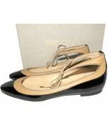 $650 Jimmy Choo Tyler Flats Black Patent Ankle-tie Ballet Shoes Ballerin... - $179.00