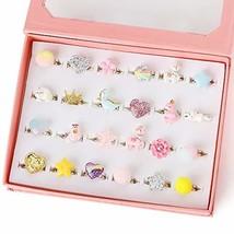 PinkSheep Little Girl Jewel Rings in Box, Adjustable, No (24 Ball Ring) - $15.44