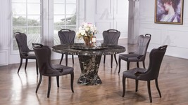 American Eagle Furniture DT-H33 Marble Top Round Dining Table PU Grey Chairs 5Pc