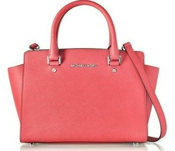 Michael Kors Selma Coral Pink Saffiano Leather Silver Crossbody Satchel Bag*Nwt - $218.00