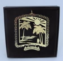 Virginia Beach Brass Ornament State Souvenir Black Leatherette Gift Box - $14.95