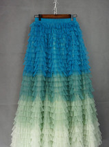 Multi-Color Layered Tulle Skirt High Waisted Tiered Tulle Skirt Outfit image 5