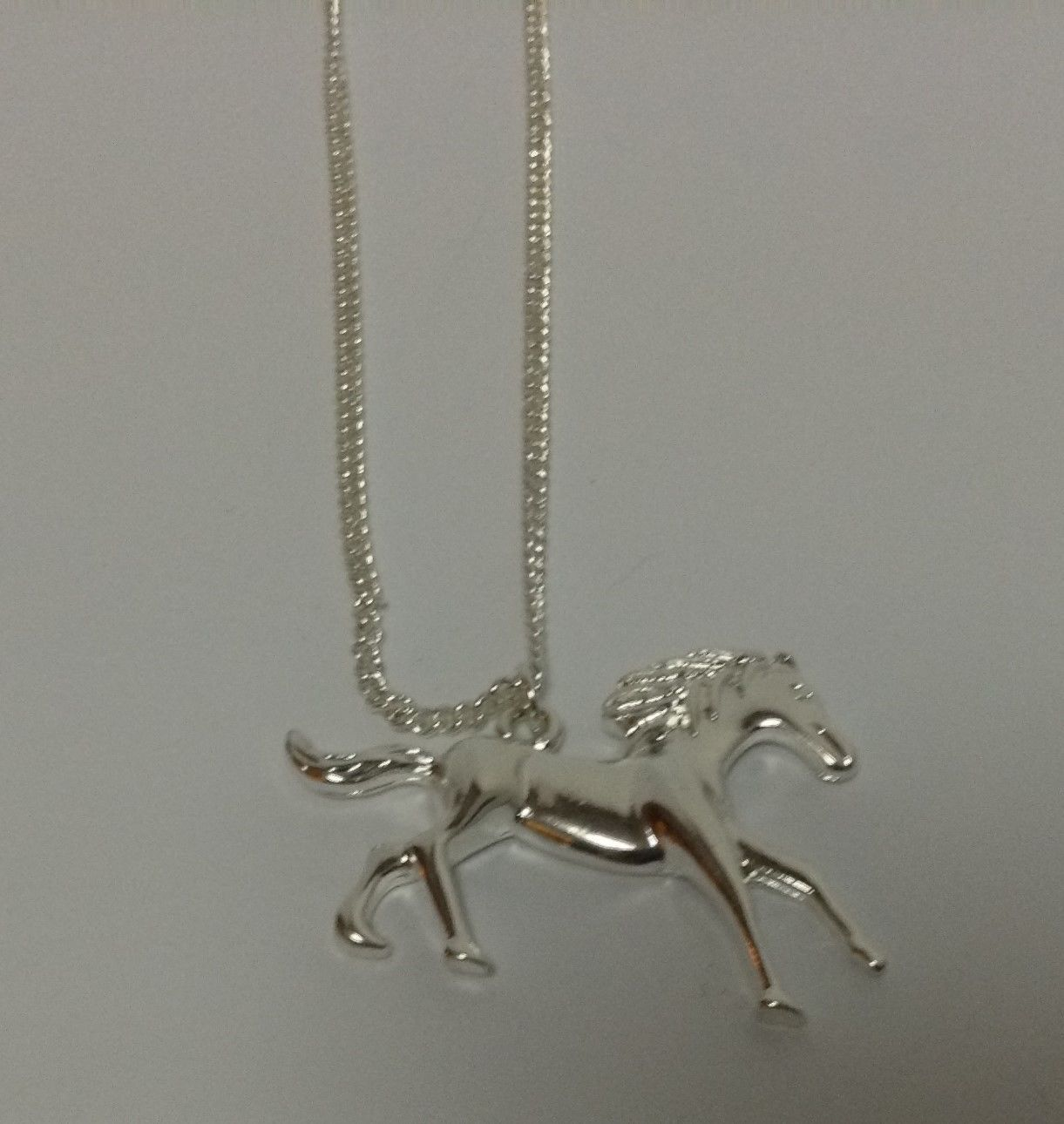 """Charming Charlie Necklace Horse Pendant Silver Tone 18"""" Free Shipping"""