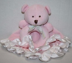 Carters SECURITY BLANKET TEDDY BEAR RATTLE Pink Ring Ruffle Trim Soft To... - $26.09