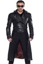 Men Leather Coat Winter Long Leather Coat Genuine Real Leather Trench COAT-UK44 - $214.46