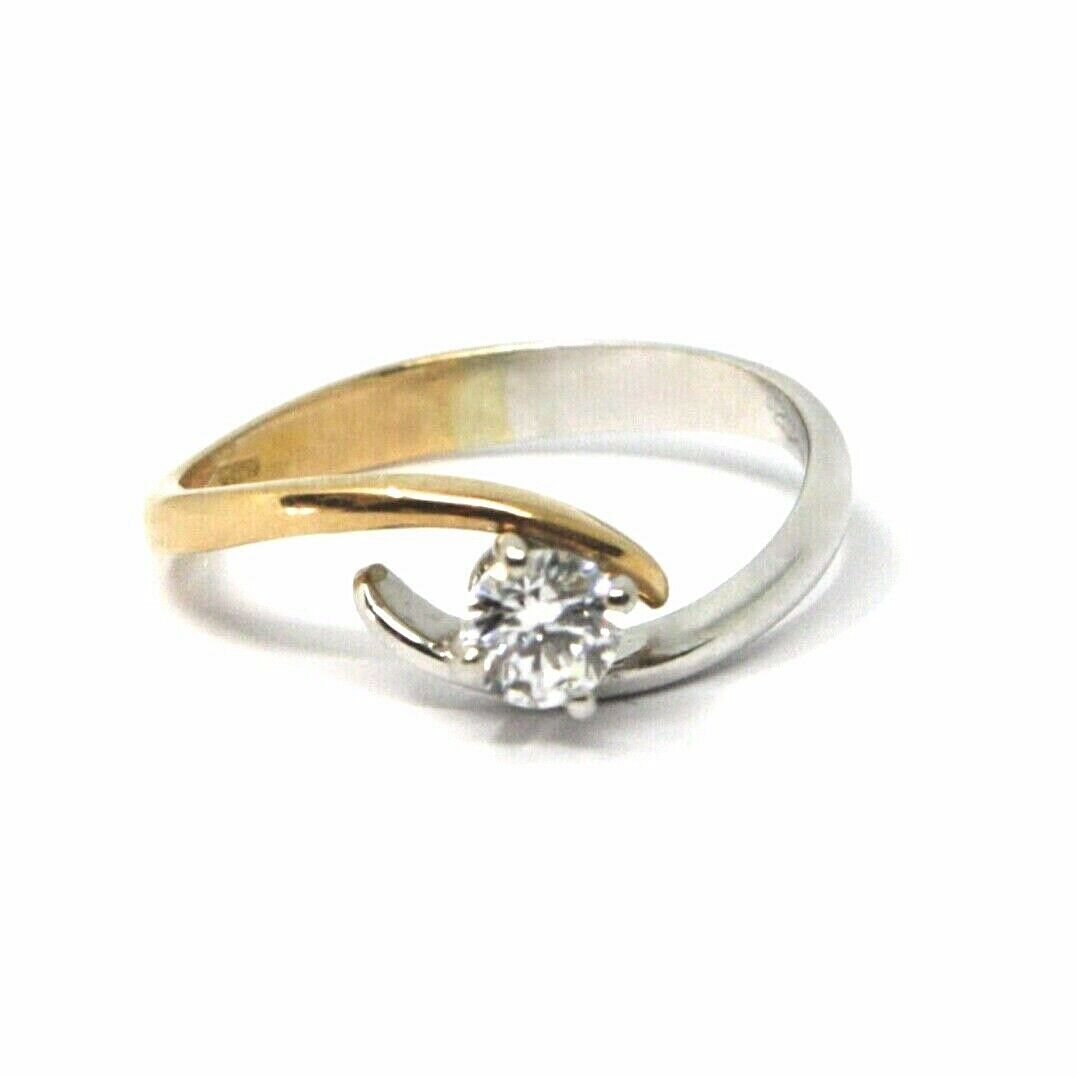 SOLID 18K WHITE ROSE GOLD RING, WAVE SOLITAIRE WITH CUBIC ZIRCONIA 0.35 CARATS