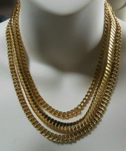 Vintage Signed Coro Gold-tone Triple Strand Chain Necklace  - $54.45
