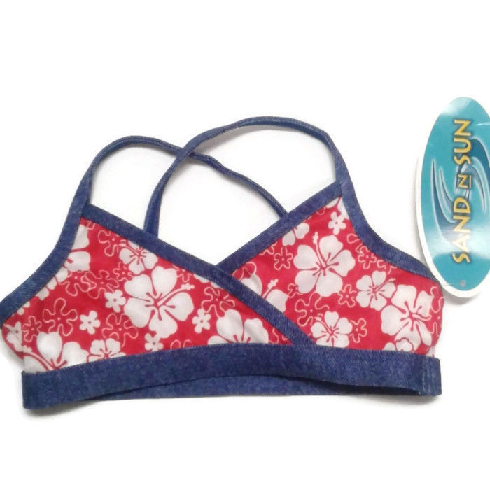 Girls bathing suit swimsuit top only 3T Hibiscus flowers blue red