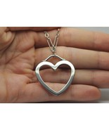 "TIFFANY & CO. 18K White Gold LARGE Heart Link Necklace (18"") - $1,650.00"