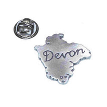 english pewter map of county of devon uk. Lapel Pin Badge / tie pin in gift box