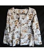 Macys Charter Club Luxury Women Pima Cotton Top Shirt Lon Sleeve Ivory F... - $24.44