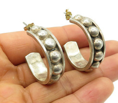 MEXICO 925 Silver - Vintage Smooth Dome Decorated J-Hoop Earrings - E6508 - $52.51