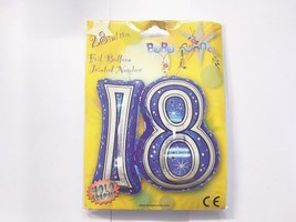 Happy 18th Birthday Giant Blue and Silver Foil Age 18 Balloon - $7.54