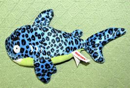 "10"" Aurora World Fanta Sea Life Blue Shark Black Spots Green Stuffed Animal Fish - $9.90"