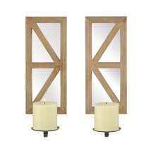 Mirrored Wood Candle Sconce Set - $54.04