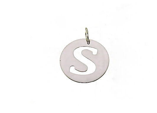 18K WHITE GOLD ROUND MEDAL WITH INITIAL S LETTER S MADE IN ITALY DIAMETER 0.5 IN