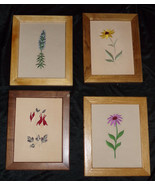 Vtg Silk Hand Embroidered? Flower Picture Lot ~Daisy~Columbine~Coneflowe... - $19.00
