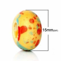 Yellow Porcelain Beads - 15mm Wholesale Large Hole Beads G3866 - 5, 10 O... - $12.00+