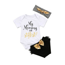 UK Newborn Baby Girls Cotton Tops Bodysuit Sequins Tulle Shorts Outfits ... - $10.99