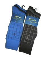 Polo Ralph Lauren men's 6 pair of dress Socks grey black blue navy Plaid... - $42.03