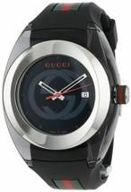 Latest Gucci SYNC Unisex YA137101 Black Striped Rubber Strap Watch 46mm  - $341.55 CAD