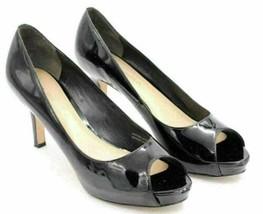 Via Spiga Women Classic Pump Peep Toe Heels Size US 6.5M Black Patent Le... - $19.94